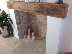 Oak sleeper mantle by M. Thebault Masons, Jersey, C. Fireplace Fronts, Fireplace Hearth, Oak Sleepers, Living Room Designs, Living Room Decor, Oak Mantle, Wood Burner, Wood Colors, Home Interior Design