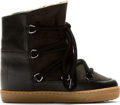 Isabel Marant - Black Leather Wedge Nowles Boots