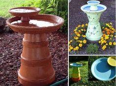 déco de jardin à fabriquer en pots en terre cuite- bain à oiseaux original