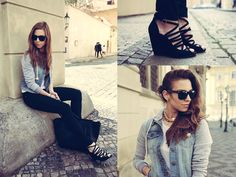 Combining sporty & romantic style, wearing classic Raybans, denim jacket and strappy wedge heels in Prague