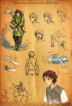 Inheritance Cycle Character- Eragon, love the little sketch or Saphira yawning!