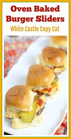 This juicy oven baked burger sliders recipe was inspired by the famous Krystal and White Castle Burgers. These flavorful little cheeseburgers are easy to make in big batches and are guaranteed to disappear in minutes! #ovenburgers #cheeseburgersliders Vegan Recipes Easy, Easy Dinner Recipes, Appetizer Recipes, Breakfast Recipes, Easy Meals, Sandwich Recipes, Bread Recipes, Oven Baked Burgers, Slider Recipes