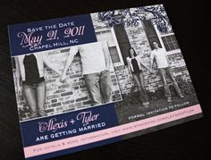 Save the date blush, navy, black and white photo