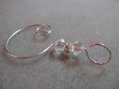 Set of 6 Swarovski Clear Crystal Bead Ornament Hangers by corkycat