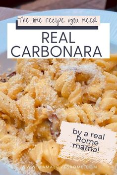 Warming and filing carbonara pasta dinner: find the authentic recipe and make dinner easy and tasty for everyone with this recipe by an Italian mom Pasta Sauce At Home, Family Meals, Kids Meals, How To Make Carbonara, Rome Food, Pasta Shapes, Food Kids, International Recipes