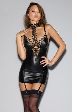 Dreamgirl Wet Look Plunge Chemise with Venice Lace Choker. Ultra slinky garter dress in vampy faux leather look material. Inspired by your desires