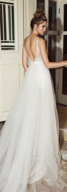 Wedding Dress by Julie Vino 2017 Romanzo Collection | Fitted lace bridal gown with deep back and detachable skirt