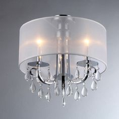 @Overstock.com - Muses Chrome Chandelier - Hanging this stylish chrome chandelier is a great way to dress up your dining room before a big party. The soft fabric shade scatters the light to create a nice atmosphere, while the double light sockets ensure sufficient illumination for large rooms.  http://www.overstock.com/Home-Garden/Muses-Chrome-Chandelier/7784987/product.html?CID=214117 $138.99