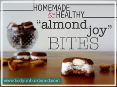 """These homemade and healthy """"almond joy"""" bites are a guilt-free indulgence! Free of refined sugar, gluten, or dairy. Jam-packed with antioxidants!"""