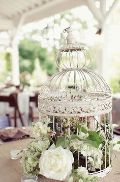 use small wedding birdcage as decor for home office/family room