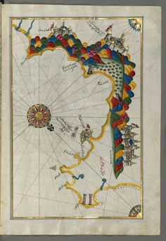 Illuminated Manuscript, Map of the Calabrian coast from Catanzaro) to Siquillace (Isqilāj) from Book on Navigation, Walters Art Museum Ms. Old Maps, Antique Maps, Illustrations, Illustration Art, Piri Reis Map, Art Carte, Creta, Mont Saint Michel, Historical Maps