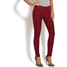 ShoeDazzle Pants/Leggings The Perfect Jegging Womens Red ❤ liked on Polyvore featuring plus size women's fashion, plus size clothing, plus size pants, plus size leggings, pants/leggings, red, jean leggings, stretch pants, stretch jean leggings and white leggings