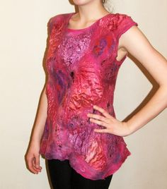 Nuno felted blouse OOAK wool cotton  and silk felted
