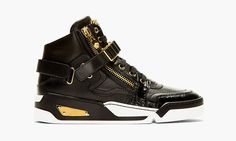 Versace Spring/Summer 2014 Black Leather High-Top Sneakers
