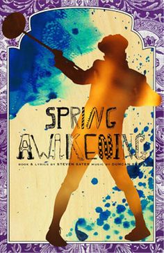 """Illustrative painting with hand-inked title for the musical """"Spring Awakening"""" promotional poster designed by FIDM Student Dominic Sinocruz.    Learn more about the FIDM Graphic Design Major: http://fidm.edu/en/Majors/Graphic+Design/"""
