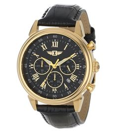 Invicta Men's Invicta I Gold-Plated Stainless Steel Watch with Black Leather Band – Watches for Boys Brown Leather Watch, Leather Watch Bands, Leather Men, Best Watches For Men, Cool Watches, Men's Watches, Wrist Watches, Amazing Watches, Celtic