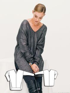 Oversize V-Neck Sweater 12/2015 #118A http://www.burdastyle.com/pattern_store/patterns/oversize-v-neck-sweater-122015?utm_source=burdastyle.com&utm_medium=referral&utm_campaign=bs-tta-bl-151130-GlamourShot118A