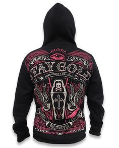 Liquor Brand Damen Hoodie Stay Gold. Biker,Rockabilly,Tattoo,Pin up Style