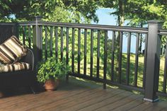 Benefit From Maintenance Free Deck Railings Exterior Stair Railing, Wood Deck Railing, Railing Ideas, Black Railing, Hand Railing, Black Deck, Outdoor Steps, Outdoor Landscaping, Pvc Decking