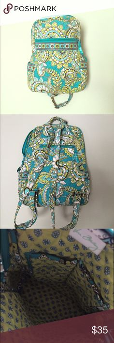 Vera Bradley Back Pack Small backpack could be used as your purse! Has a small front and back pocket as well as the main pocket. Two small pockets inside the main pocket. In perfect condition. Vera Bradley Bags Backpacks