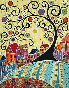Folk Art Abstract Painting - Houses And A Swirl Tree by Karla Gerard