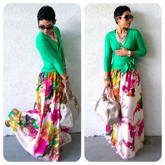 Green Wrap Top   Floral Maxi Skirt   (mimi g.: DIY Maxi + DIY Wrap Top)
