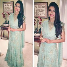 Gauahar is wearing a mint green, Astha Narang lehenga