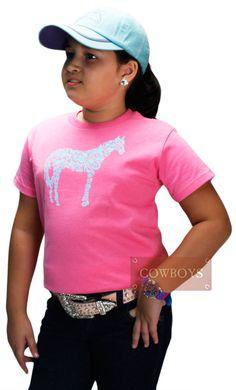 Camiseta Infantil Cavalo Rosa   Camiseta infantil, marca Rabbit Skins,importada, 100% algodão, na cor rosa com estampa de cavalo na cor azul. Confortável e fresquinha, ideal para dias quentes.