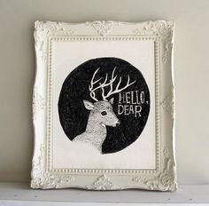 Hello Dear Print with Vintage Frame by shreddedfragments on Etsy, $45.00
