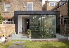 Dark steel frame of extension brings contrast between old and new