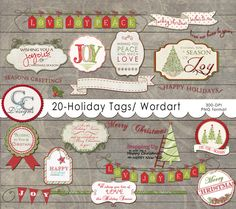 20 Holiday Tags- Elements by Captured and Created on @creativemarket