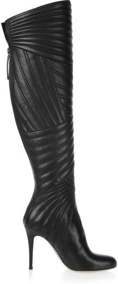 "kaftanista: ""Valentino Stitched Leather Knee Boots in Black """