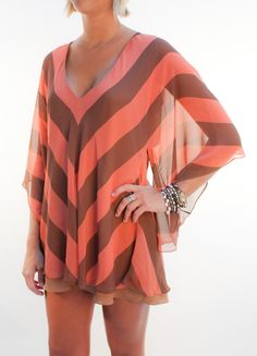 Coral & Brown Chevron dress