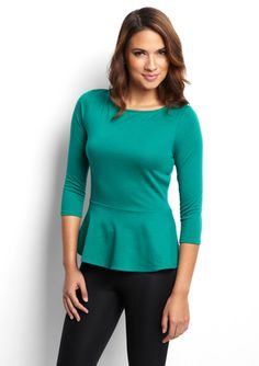 CASUAL COUTURE Three-Quarter Sleeve Peplum Top $30