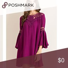 🍂Wine Bell Sleeved Dress Gorgeous Wine Colored Dress. 3/4 Sleeved. Bell Sleeve Detail. Dresses Midi