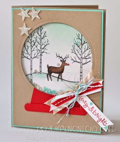 White Christmas Rudolph Snow globe shaker card uses Star Confetti punch . crumb Cake and Coastal Cabana . cherry Cobbler Blendability colored pearl for the nose. Used Circle Framelits Stampin Up Christmas, Christmas Cards To Make, Noel Christmas, Christmas Settings, Xmas Cards, White Christmas, Handmade Christmas, Holiday Cards, Stampin Up Karten