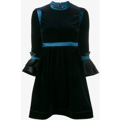 Roksanda Neruda Velvet Dress ($1,215) ❤ liked on Polyvore featuring dresses, 3/4 sleeve a line dress, roksanda dress, mini cocktail dress, mini dress and embellished mini dress