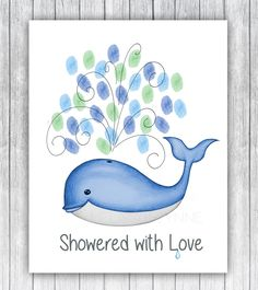 Whale Thumbprint Baby Shower Guest Record, Fine Art Print, Whale Baby Shower (Frame Not Included), Guest Thumbprint Sign In from Melissa Wynne Designs Ocean Baby Showers, Mermaid Baby Showers, Baby Mermaid, Baby Shower Frame, Shower Bebe, Baby Boy Shower, Baby Whale, Nautical Baby, Nautical Theme