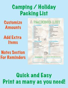 Use this quick, easy and printable packing list to pack for camping, summer camp or holidays.  Spaces to customize item amounts, add items and two sections for adding reminders.  Its always a good idea to include your packing list in yours or your childs luggage so when they pack to come home they know what they brought and they dont forget anything!  As a summer treat this packing list is priced just to cover costs .... happy summer from Robadig