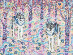 Art Print Giclee Wolf Nature Woods Eco-friendly by kararane (Art & Collectibles, Prints, art, animal, giclee print, nature, forest animals, wild wolves, nordic wilderness, wolf, totem spirit, eco friendly, affordable art, neoshaman, white blue snow)