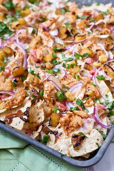 BBQ Chicken & Grilled Pineapple Nachos by foodiebride