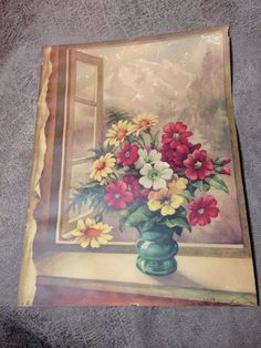 It is very pretty, and signed by the artist S J Bende. Flower Prints, Flower Art, Vintage Artwork, Artwork Prints, Window, Signs, Artist, Flowers, Painting