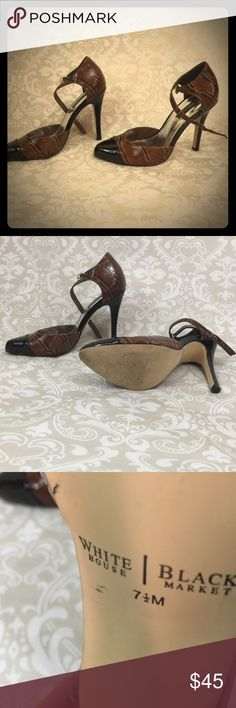 White House Black Market Tortoise and Black Heels WHBM Black and Brown Tortoise Shoes -Heels.  Size 7.5.  Previously worn, cared for and loved.  Excellent condition. White House Black Market Shoes Heels