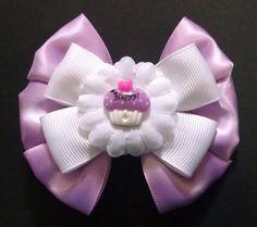 Cupcake Hairbow Birthday Hairbow Girls by GloriaMillerCreation