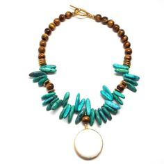 Turquoise and Tiger's Eye Statement Necklace | Only available at Peyton William. www.peytonwilliam.com