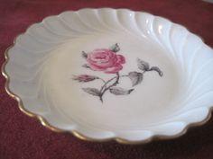 Haviland France Limoges Bagatelle Rose Flower Plate with Gold Rim pink #Haviland #HavilandLimogesFrance