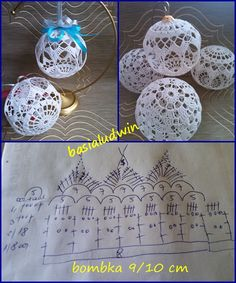 Bombki - Her Crochet Crochet Ball, Crochet Motif, Hand Crochet, Crochet Patterns, Christmas Tree Hooks, Crochet Christmas Decorations, Craft Free, Ribbon Design, Irish Lace