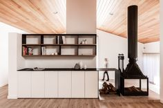 Dark 1980s Home in Rural Australia Gets a Modern Reboot Architecture Awards, Interior Architecture, Interior Design, Double Sided Fireplace, Container Architecture, Shelf Design, Elle Decor, Home Projects, Living Spaces