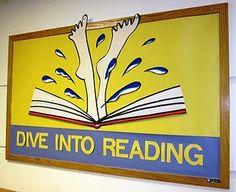 end of school year book display Summer Bulletin Boards, Reading Bulletin Boards, Classroom Bulletin Boards, School Classroom, Classroom Ideas, Reading Display, Reading Library, Ar Reading, School Library Displays