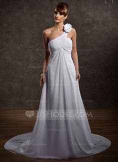 Wedding Dresses - $146.99 - Empire One-Shoulder Court Train Chiffon Wedding Dress With Ruffle Flower(s) (002000574) http://jjshouse.com/Empire-One-Shoulder-Court-Train-Chiffon-Wedding-Dress-With-Ruffle-Flower-S-002000574-g574